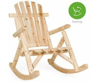 BCP Wood Log Rocking Chair Seat w/ Armrests Fanned Back Sloped Seat Natural